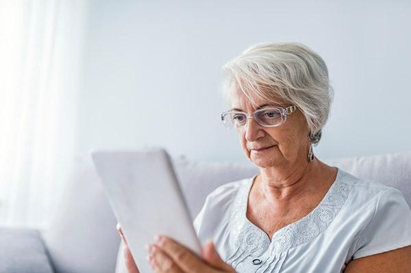 Women using tablet device